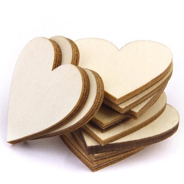 Wish | Lot de 50pcs 40mm Embellist Forme de Coeur en Bois pour ... Decoration Coeur on