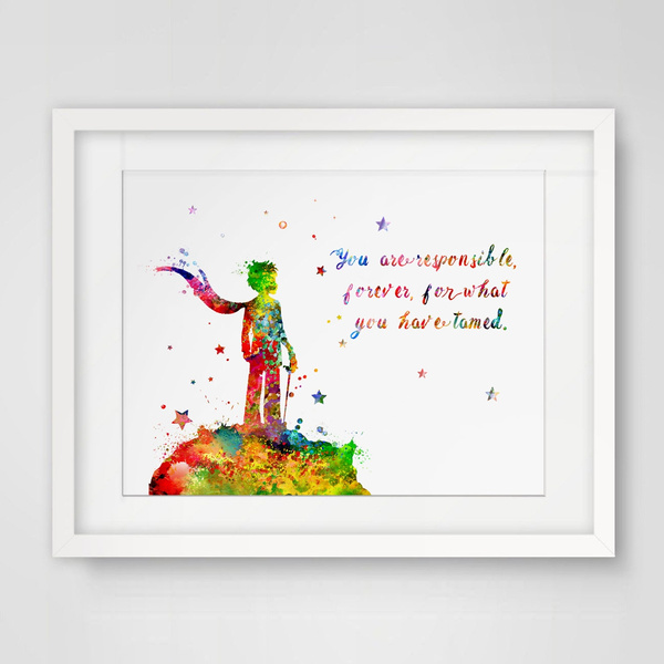 The Little Prince Quote Le Petit Prince French Inspirational Print Wedding  Gift Wall Decor Art Home No Frame
