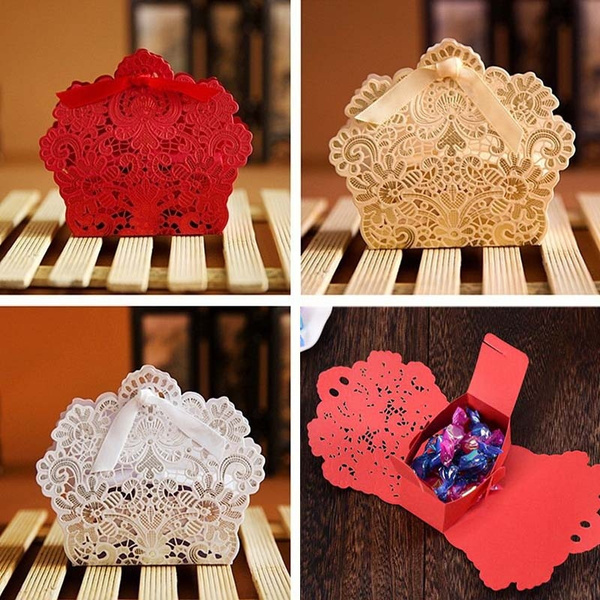 Picture of 10 Pcs /Set Love Heart Party Wedding Hollow Carriage Baby Shower Favors Gifts Candy Boxes