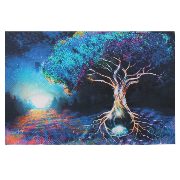 Picture of Psychedelic Trippy Tree Pattern Silk Fabric Posters Visual Mind Manifesting Art