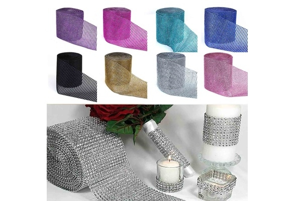 1 Yard Fashion Mesh Wrap Roll Sparkle Rhinestone Crystal Ribbon Wedding Decoration wcmk