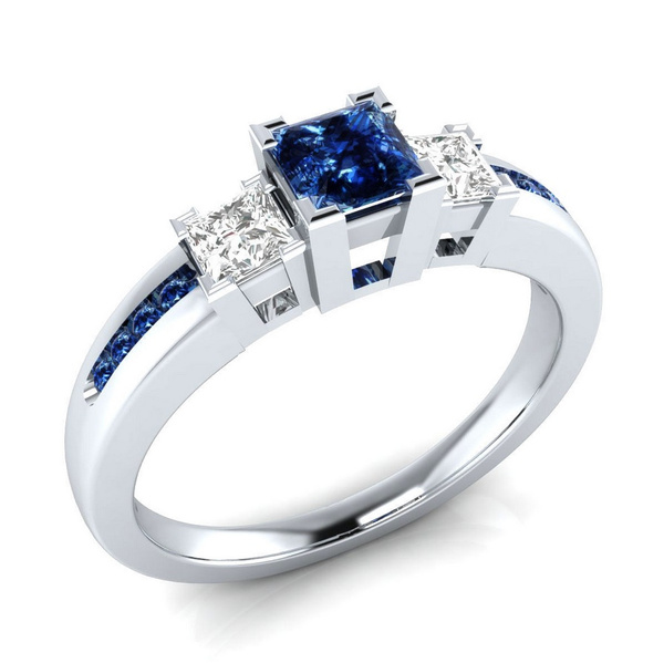 Picture of Noble 925 Sterling Silver Princess Cut Blue White Sapphire Engagement Ring