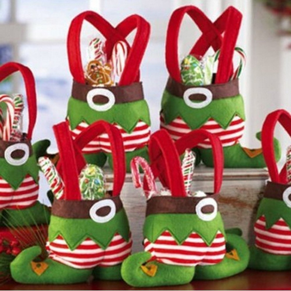 Elf Christmas Gift Bags.Santa Candy Bags Elf Foot Socks Candy Bags Christmas Gift Bags Elf Spirit Stocking Filler Pants Cutlery Supplies Practical Home For Christmas