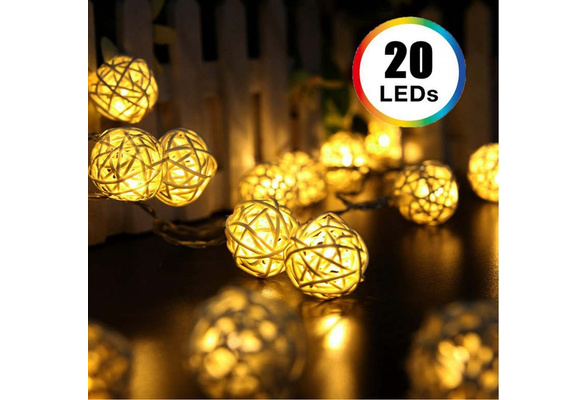 20 LED Color Rattan Ball String Fairy Lights For Xmas Wedding Party