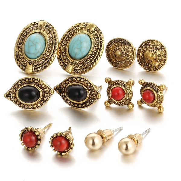Picture of 6pcs/set Fashion Vintage Geometric Turquoise Trendy Earring Casual All-match Elegant Women Girl Personality Jewelry Color Gold