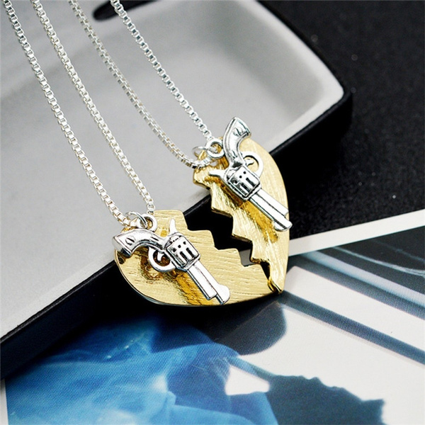 2Pcs/Set Fashion Best Friends Forever Jewelry Friendship THELMA LOUISE Pistol Gun Pendant Necklace Broken Heart
