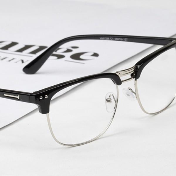 Picture of Women Men Unisex Hipster Vintage Retro Classic Half Frame Glasses Clear Lens Nerd Eyewear