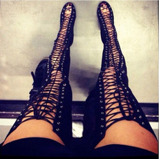 Sexy Black High Heels Gladiator Shoes Woman Peep Toe Lace Up Thigh High Boots