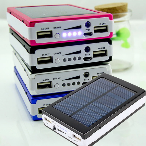 Picture of Solar Panel Battery Charger Dual Usb Power Bank With Led Light 25000mah