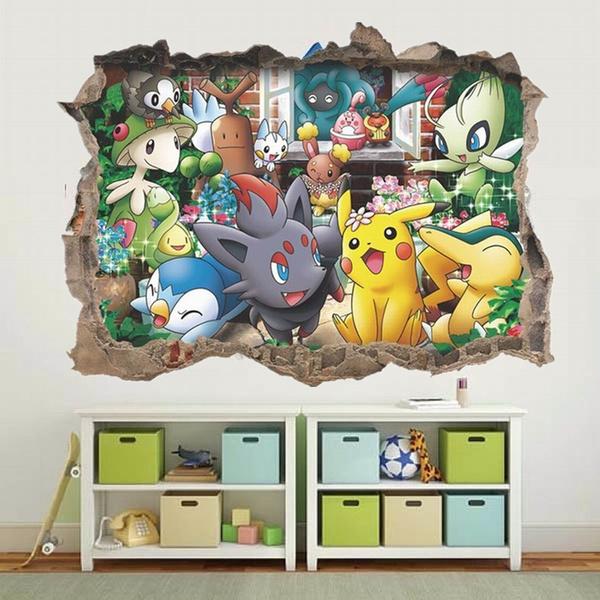 3d Pokemon Cartoon Wall Sticker For Kids Rooms Pikachu Poster Art Wallpaper Vinilos Decorativos Children Gift Home Decor