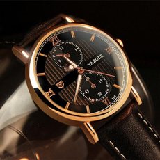 Charming New Luxury Fashion Leather Mens Glass Quartz Analog Wristwatch Noctilucent Watches
