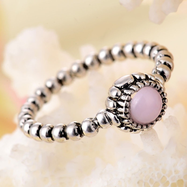 Picture of Women Fashion 925 Sterling Silver Pink Opal Solitaire Round Cut Ring