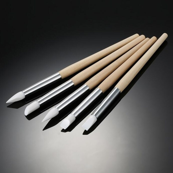 5Pcs/Set Nail Art Silicone Pen Brushes Wooden Handle Dotting Carving Emboss Craft Pottery Scu