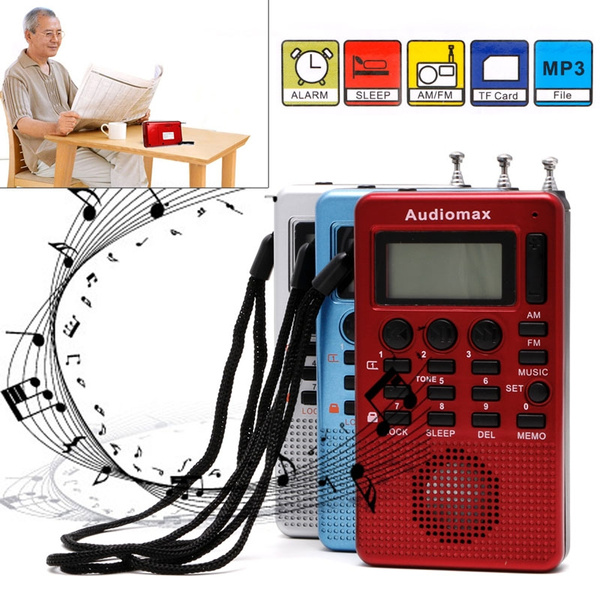 Picture of Portable Digital Lcd Receiver Am Fm Band Radio Mp3 Music Player Rec Recorder Bas Color Red
