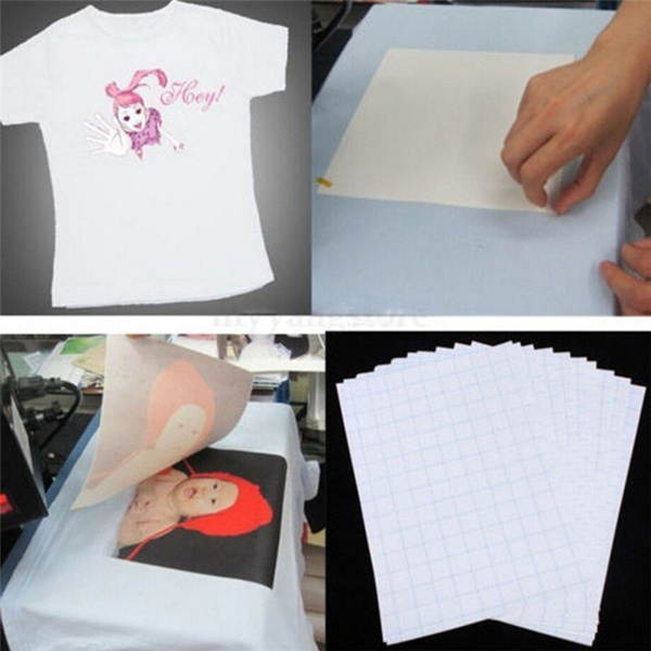 Picture of 5pcs Hot Good Quality T-shirt A4 Iron-on Inkjet Heat Transfer Paper For Fabrics Cloth New Color White