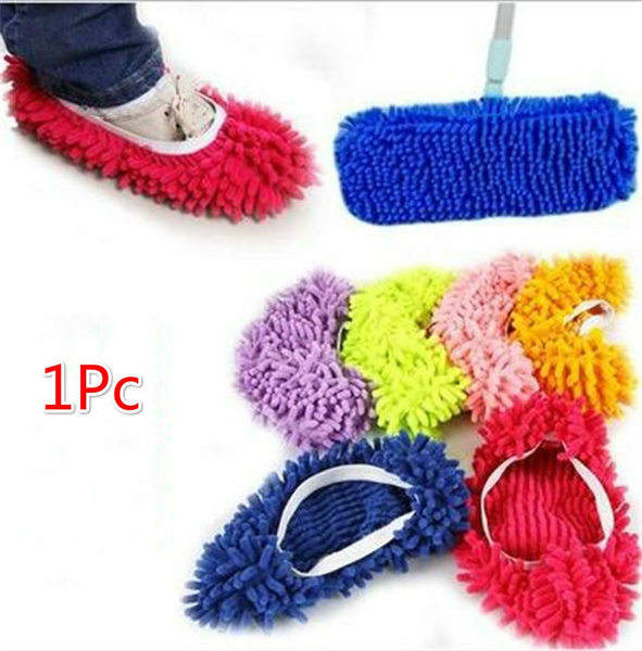 1Pc Multi Function Chenille Fibre Washable Dust Mop Slippers Cleaning Shoes