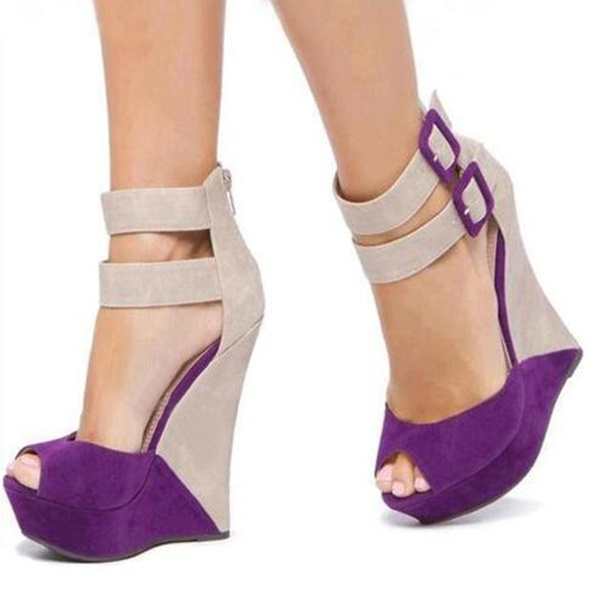 Picture of Brilliant Suede Duo Color Buckles Peep Toe Wedge Sandals