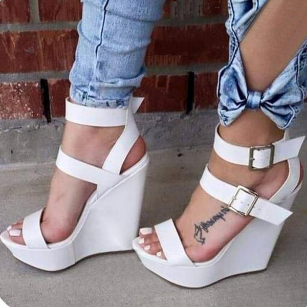 Picture of Solid Color Buckle Decorated Wedge Sandals
