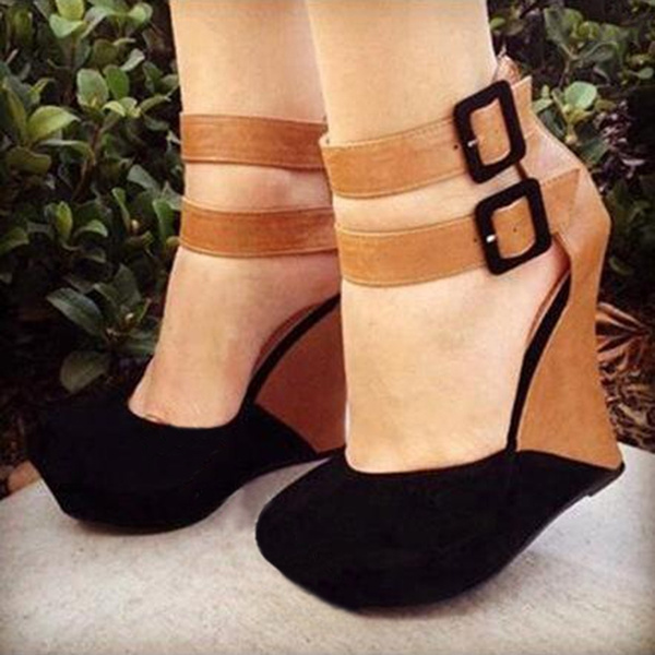Picture of Stylish Contrast Colour Suede Wedge Sandals