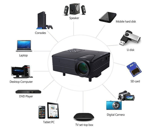 Picture of Full Hd Home Theater Cinema Lcd Image System 80 Lumens Mini Led Projector With Av/vga/sd/usb/hdmi