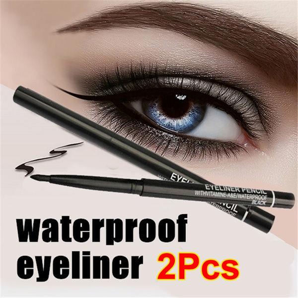 Picture of 2pcs/lot Women Waterproof Retractable Rotary Eyeliner Pen Eye Liner Pencil Makeup Cosmetic Tool Color Black Color Black