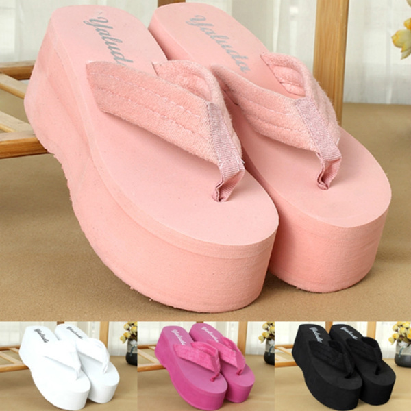 Picture of Women Summer Black/pink/red/white Solid Color Beach Sandals Wedge Platform Thongs Slippers Flip Flops