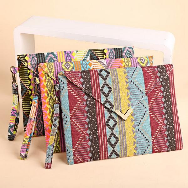 Picture of Women Vintage Canvas Envelop Clutch Bag Geometric Casual Party Handbag