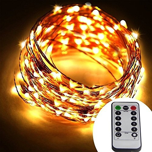 Battery Operated 66 Ft 200 Led Copper Wire String Lights 8 Modes Dimmable Micro Led Starry String Light Warm White