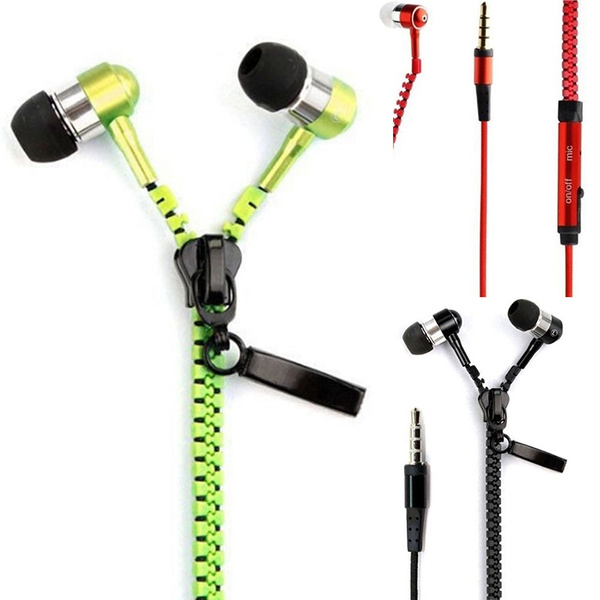 Picture of Good 3.5mm In-ear Zipper Stereo Hands Free Headphones Headset + Mic Earphones Cheap But Quality Goods