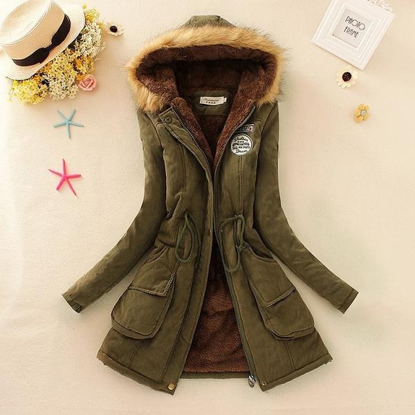 Collar, hooded, fur, women coat