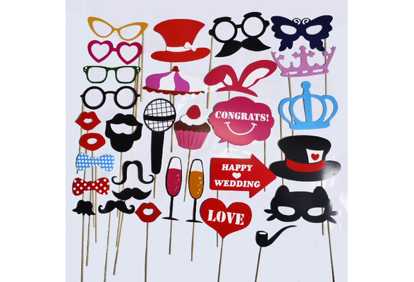 New Fashion 31pcs Mustache On A Stick Wedding Party Photo Booth Props Photobooth Funny Masks Bridesmaid Gifts For Wedding Decoration