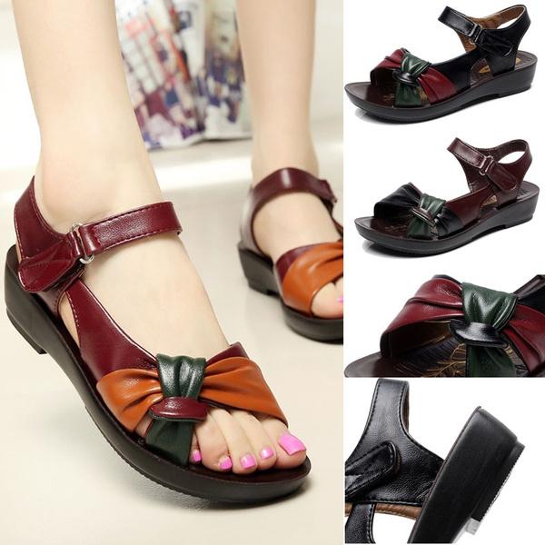 Picture of Fashion Leather Knot Sandals Low Heel Women's Summer Sandal Shoes Contrast Color Comfort Ladies Women Shoes