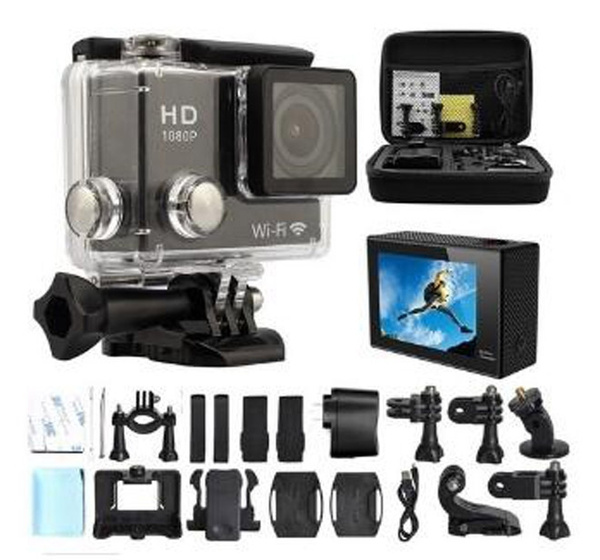 Picture of Hd 1080p Sports Camera Black 12mp + Waterproof Action Dv Camcorder 170 Degree Wide Angle Car Dvr Recorder Diving Skatingunderwater Hdmi Output