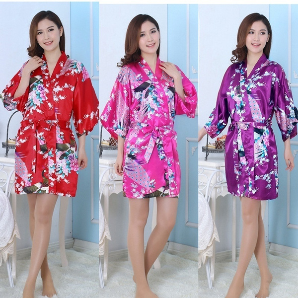 Wish | Silk Satin Wedding Bride Bridesmaid Robe Floral Bathrobe ...
