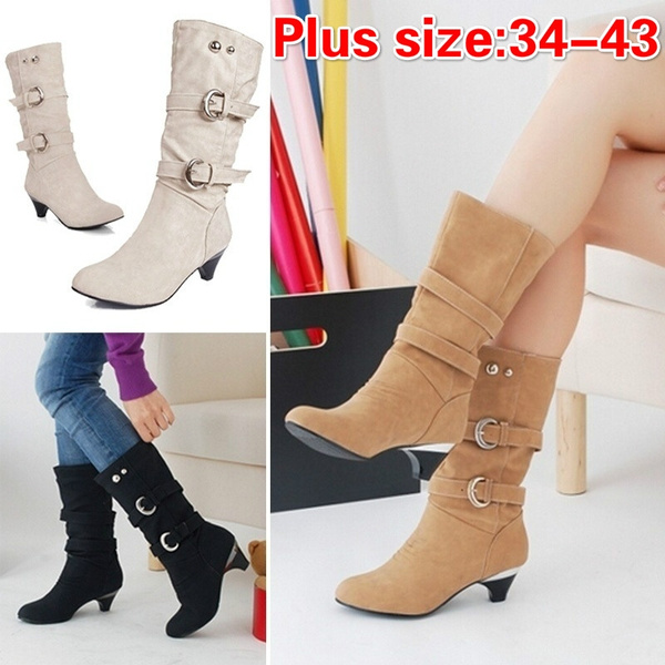 Picture of Fashion Women Casual Shoes Slope With Boots Leather Boots Belt Buckle Metal Boots