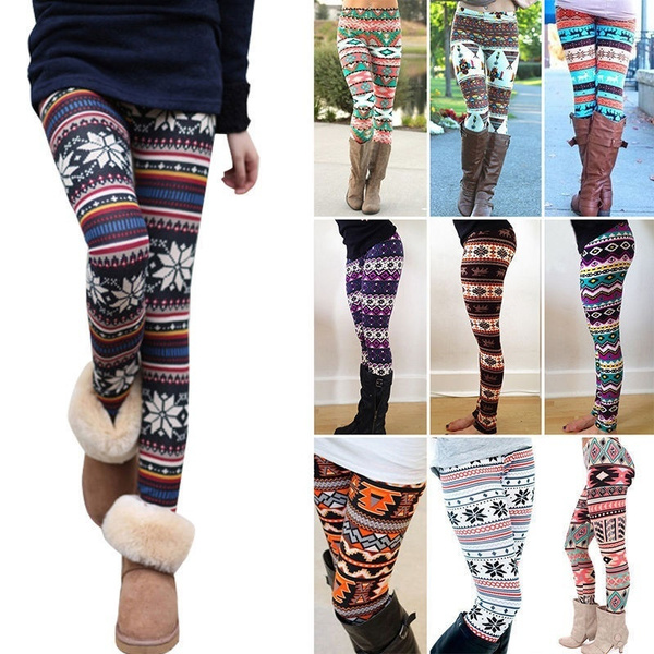 Fashion Women's Xmas Snowflake Reindeer Knitted Tights Pants Warm Leggings Skinny Slim Pencil Pants Trousers
