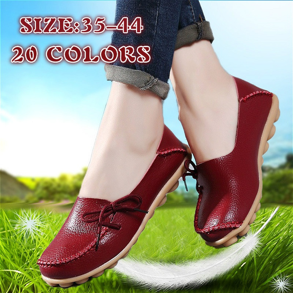Picture of New Women Real Leather Shoes Moccasins Mother Loafers Soft Leisure Flats Female Driving Casual Footwear Size 35-42