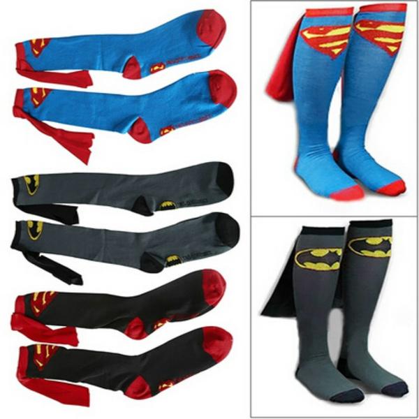 Unisex Super Hero Superman Batman Knee High With Cape Soccer Cosplay Socks New