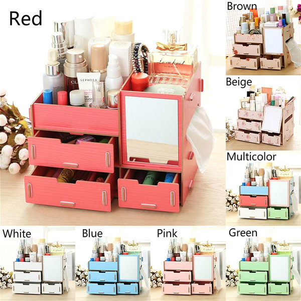 1pc Home Living Woman Fashion Wooden Storage Boxes Large Diy Jewelry Box Desk Makeup Storage Box With Mirrors Tray