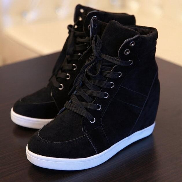 Wish Women S Fashion Wedge Sneakers Hidding Heels Black Red Tennis