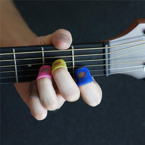 4 Pcs Guitar Finger Cover Guitar Fingertip Protectors Anti-Pain Pouches Soft Handguard Beginner Steel String Perfect Match