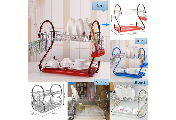 Top Quality DIY Home Kitchenware 2 Tier Stainless Steel Dish Rack Holder Organizer