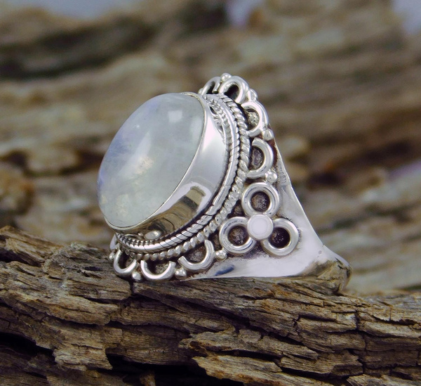 Picture of Rainbow Moonstone Gemstone 925 Sterling Silver Jewelry Ring