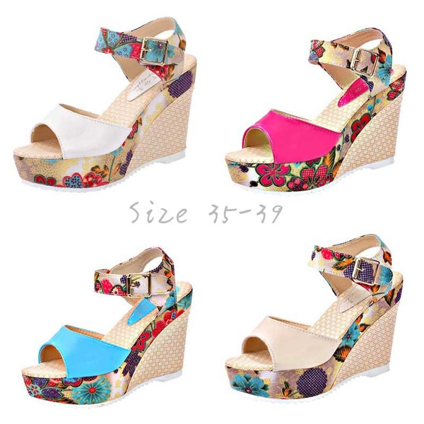 Picture of Shoes Women Sandals Platform Wedge Heel Shoes Print Zapato Mujer Sandalias Plataforma Shoes Soft Summer