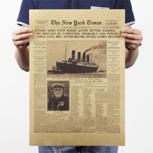 Picture of New York Times Historic Moment Titanic Kraft Paper Poster Wall Art