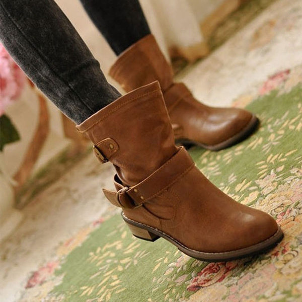 Picture of Women Winter Boots Motorcycle Boots Fashion Classic Flat With Women Winter Boots