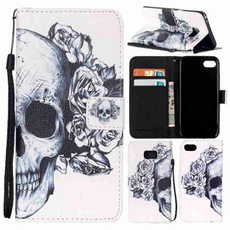 Black Skull Painted Pattern Flip Cover Holster PU Leather Wallet Card Holder With Hand Strap Shockproof Mobile Phone Bag Case For LS770 LS775 /iPhone 5 5S SE 6 6S 6Plus 6S Plus/Samsung Galaxy Note7 S4 S5 S6 S6 Edge S6 Edge Plus S7 S7 Edge J3 J310 J5 J510