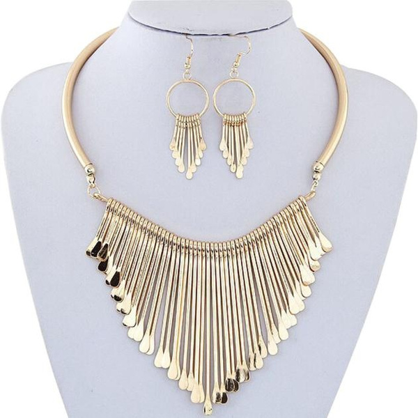 New Luxury Womens Metal Tassels Pendant Chain Bib Necklace Earrings Jewelry Set Happy Merry Christmas