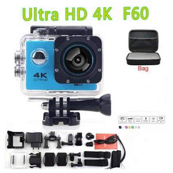 Picture of 4k Ultra Hd Sports Action Camera 30m Waterproof Wifi 170 Degree Wide Lens H.264 Sports Dvr Diving Camcorder 2 Inch Screen With Medium Storage Case Bag