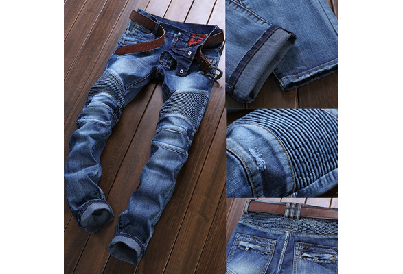 High Quality Ripped Jeans Men Fashion Patchwork Moto Jeans 2016 New Mens Pants Slim Fit Jeans Brand Men Biker Denim Jean men